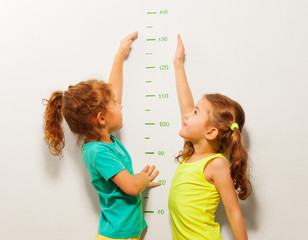 Happy girls stretch hands up on wall scale