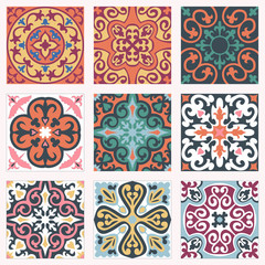 Garden Poster Moroccan Tiles Set with Beautiful seamless ornamental tile background.