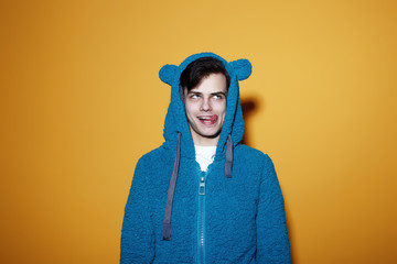Funny crazy man in the teddy bear suit grimace