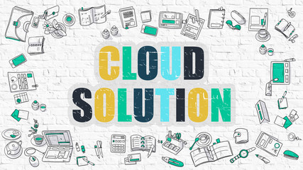 Cloud Solution Concept. Modern Line Style Illustration. Multicolor Cloud Solution Drawn on White Brick Wall. Doodle Icons. Doodle Design Style of Cloud Solution Concept.