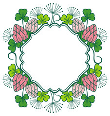 Beautiful floral frame. Vector clip art.