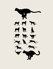 Cheetah Silhouette Collection, art vector design