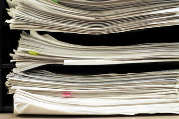 close up of stacking documents on office table
