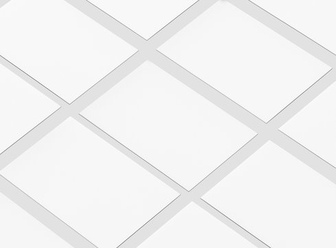 Blank Business Cards mockup isolated on white.