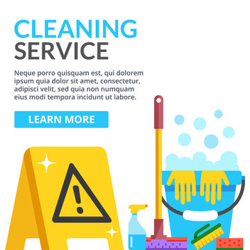 Cleaning service flat illustration. Flat vector illustration