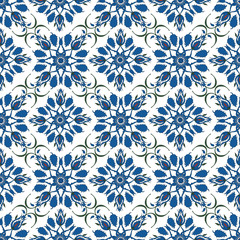 Ornamental blue turkish floral seamless pattern on the white background.