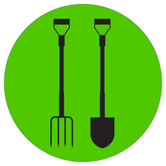 illustration of a silhouette garden pitchfork and shovel
