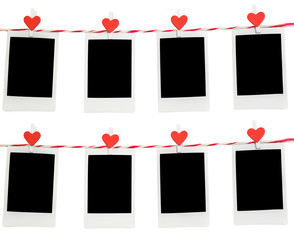 8 Blank instant photo and red clip paper heart hanging on the clothesline with white background.Designer concept.