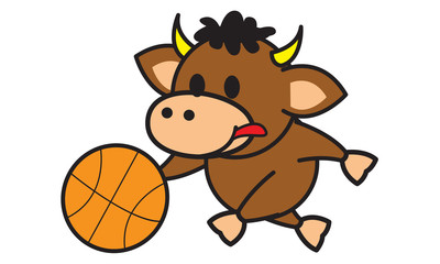 Bull playing basketball