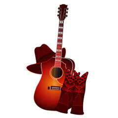 Set of acoustic guitar, cowboy boots and cowboy hat isolated on white background. Country music elements. Music background. EPS10 vector illustration