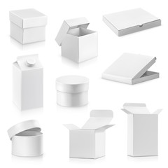 Set white cardboard boxes vector