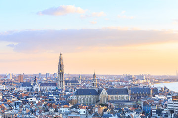 Zelfklevend Fotobehang Antwerpen View over Antwerp with cathedral of our lady taken
