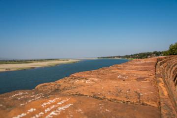 Ayeyarwady River views form Lokananta Pagoda in Bagan, Myanmar,