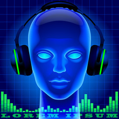 Futuristic artificial head in blue light with headphones and gre