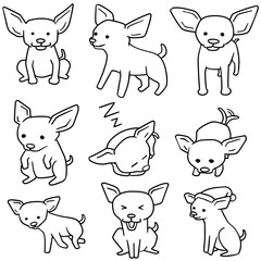 vector set of dog, chihuahua