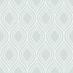 Seamless ornament. Modern stylish geometric light blue pattern with repeating white dotted wavy lines