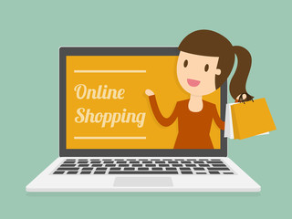 Online Shopping. Business Concept Cartoon Illustration.