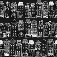 Seamless pattern with hand-drawn European architecture.