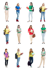 Collection of attractive school girls on isolated background.