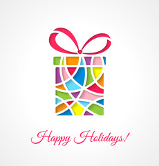 Greeting card template with cut out multicolor gift.