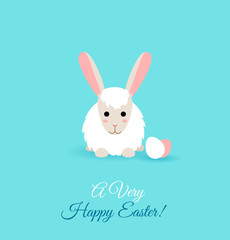 Vector illustration of cute rabbit. Flat Easter card.
