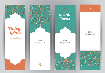 Vector set of vertical cards in Eastern style.
