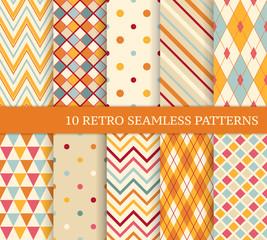 10 retro different soft seamless patterns.