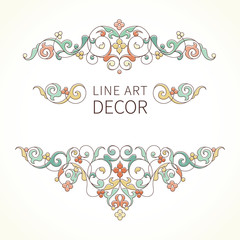 Vector floral vignettes in Eastern style.