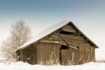 Snow Covered Barn House