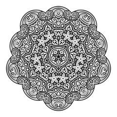 Dekoratives Vektor Element - abstraktes, florales, schwarzes Mandala Muster isoliert auf weißem Hintergrund