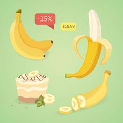Fresh banana fruits, collection of vector illustrations. Set banana.Peeled and sliced bananas