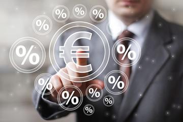 Businessman touch button eur communication euro percent icon