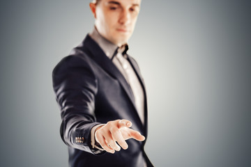 Close up image of young attractive businessman