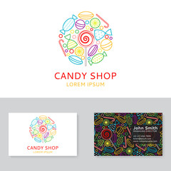 Candy shop logo and business card. Background with candy icons in trendy linear style. Vector illustration.