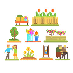 Spring and Flowers. Vector Illustration Set
