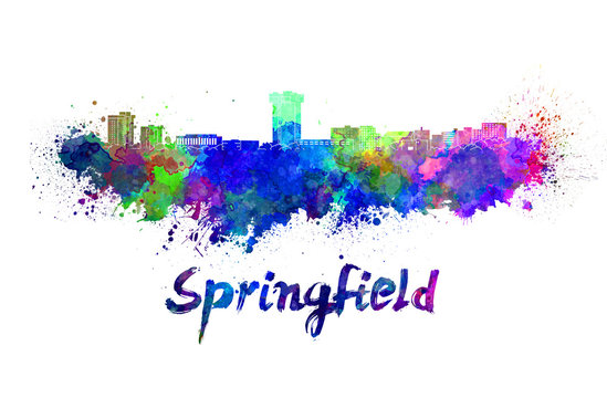 Springfield MO skyline in watercolor splatters with clipping path
