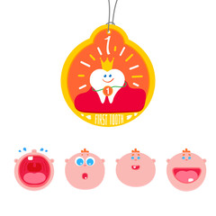 Baby First tooth Vector medal