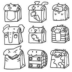 vector set of animal paper bag