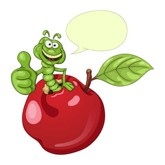 Funny cartoon worm coming out of an apple and shows his thumb with approval. With speech bubble
