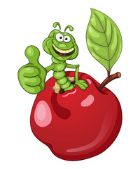 Funny cartoon worm coming out of an apple and shows his thumb with approval