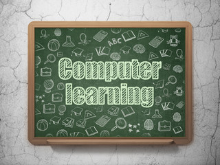 Education concept: Computer Learning on School Board background