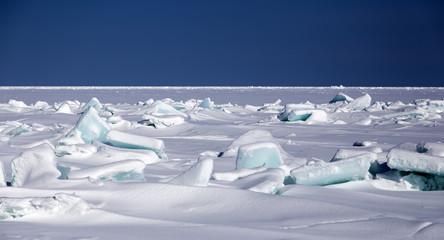 broken sea ice blue