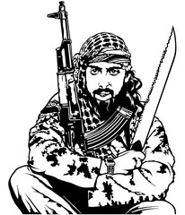 Sitting Terrorist Holding Long Knife and Submachine Gun - Illustration, Vector