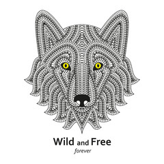 Creative stylized wolf head in ethnic boho style. Good for logo, ornamental tattoo, t-shirt design. Animal background. Highly detail abstract hand drawn style. Text wild and free. Vector illustration