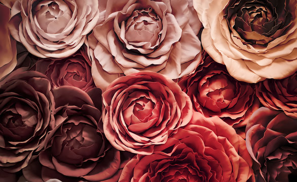 Background of artificial flowers