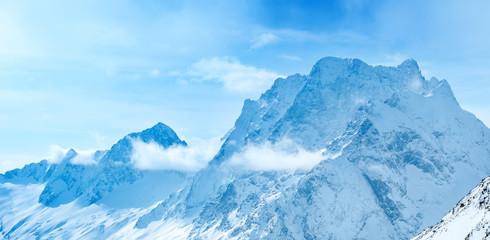 beautiful landscape winter snow covered of Dombaj mountain peaks