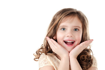 Portrait of adorable surprised little girl