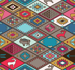 Seamless colorful navajo pattern with rhombus
