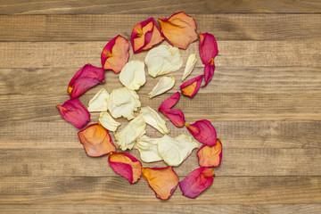 heart shape made of dry rose petal