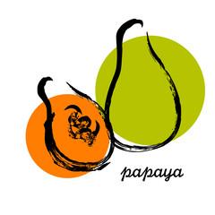 Hand drawn papaya